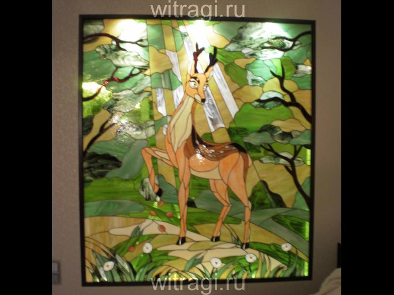 Витраж Тиффани: Витраж на стену в детской «Сказочный олень»