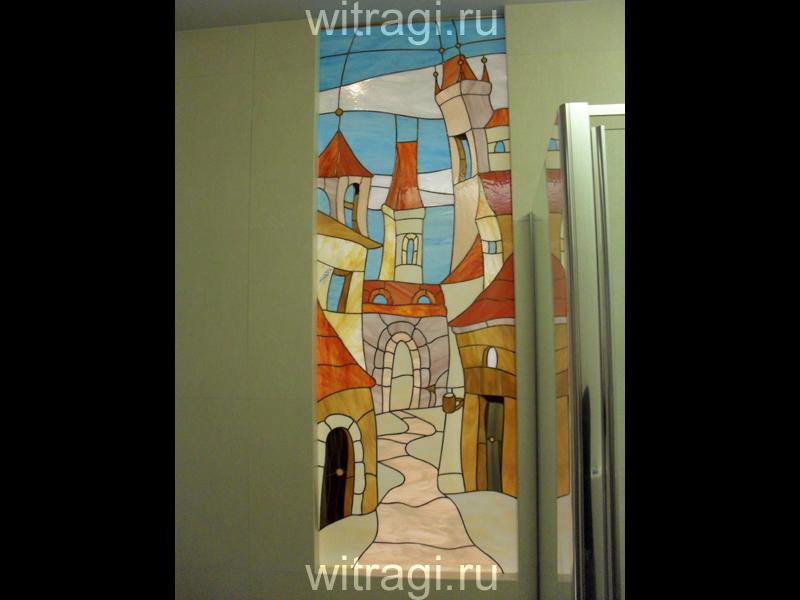 Витраж Тиффани: Витраж в межкомнатный проём «Солнечная Прага 1»