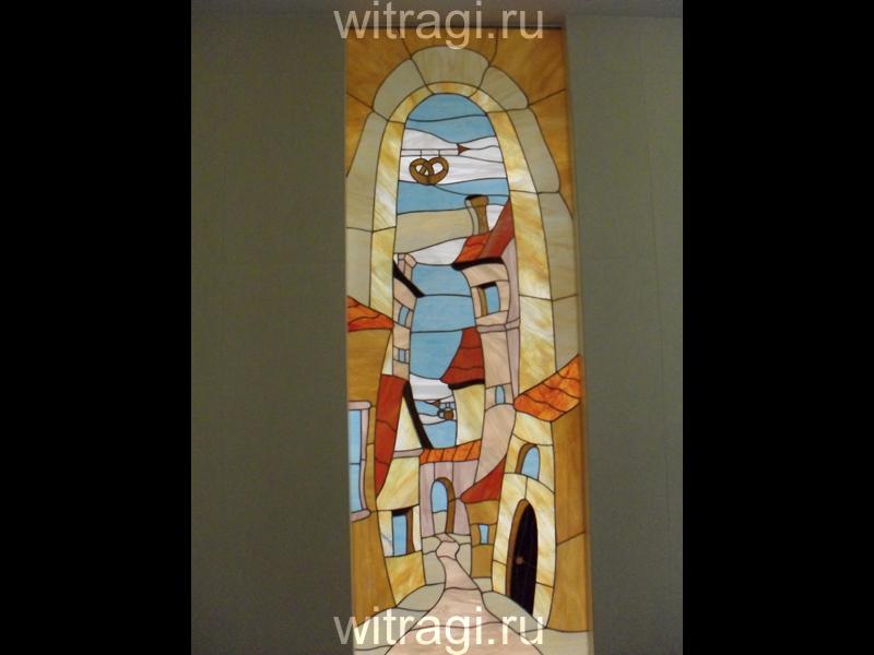 Витраж Тиффани: Витраж между гостиной и холлом «Солнечная Прага 2»