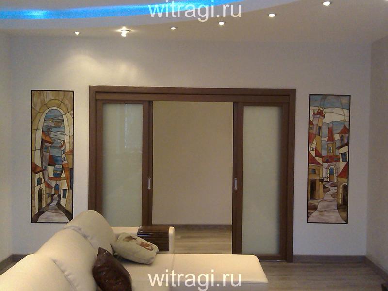 Витраж Тиффани: Витражный диптих с подсветкой по бокам дверного проёма