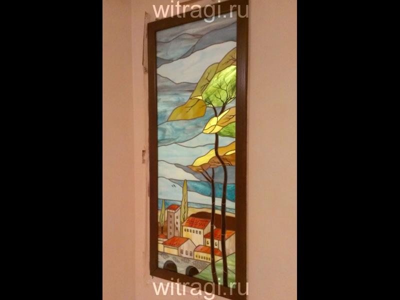 Витраж Тиффани: Витраж на стену «Итальянский городок на море»