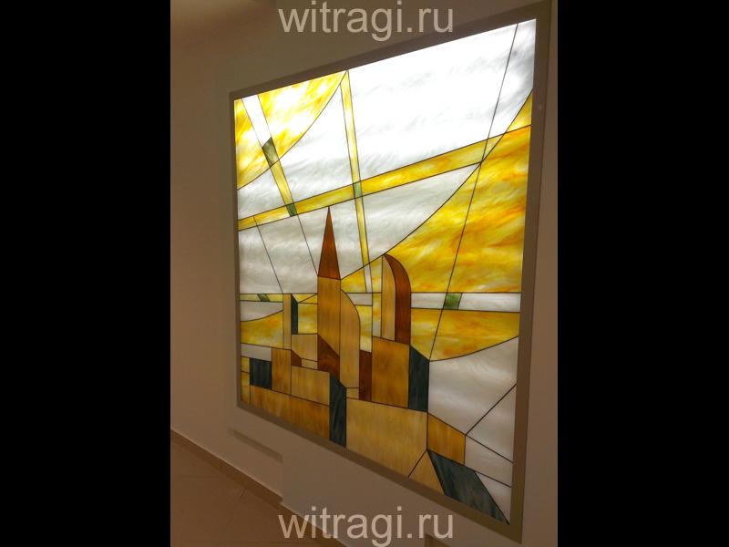 Витраж Тиффани: Витражное панно с подстветкой «Солнечное лето в футуристическом городе. Часть четвёртая»