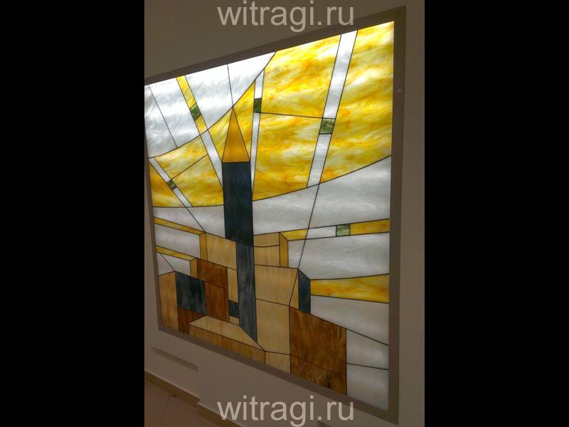 Витраж Тиффани: Витраж в нишу на стене с подсветкой «Солнечное лето в футуристическом городе. Часть третья»