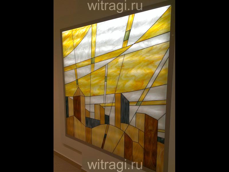 Витраж Тиффани: Витраж на стене «Солнечное лето в футуристическом городе. Часть вторая»