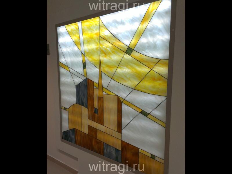 Витраж Тиффани: Витраж в нише «Солнечное лето в футуристическом городе. Часть первая»
