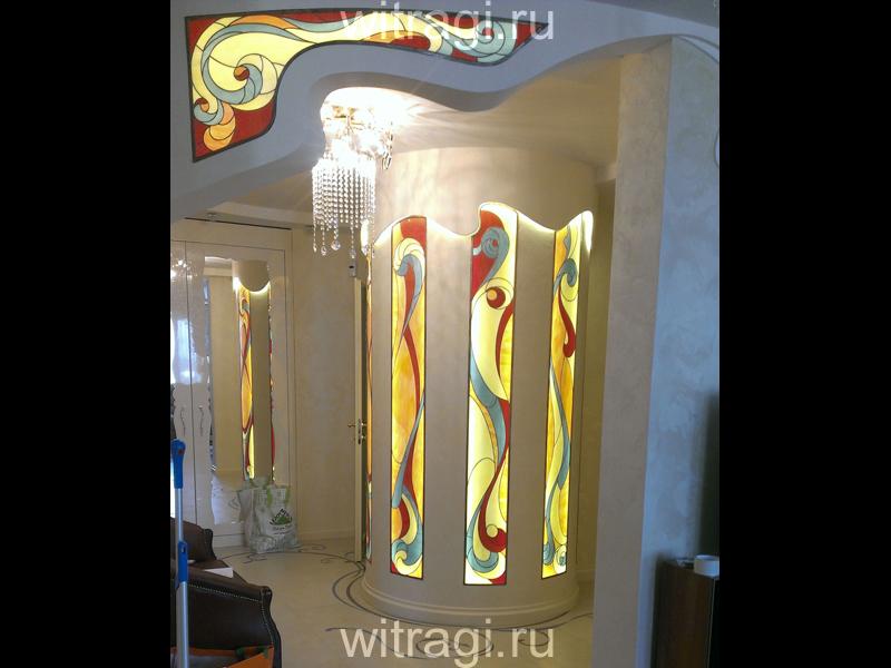 Витраж Тиффани: Витражная композиция «Радиусные, лекальные витражи в духе ар-нуво»